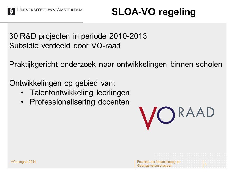 SLOA-VO regeling Faculteit der Maatschappij- en Gedragswetenschappen 3 30 R&D projecten in periode 2010-2013 Subsidie verdeeld door VO-raad Praktijkge