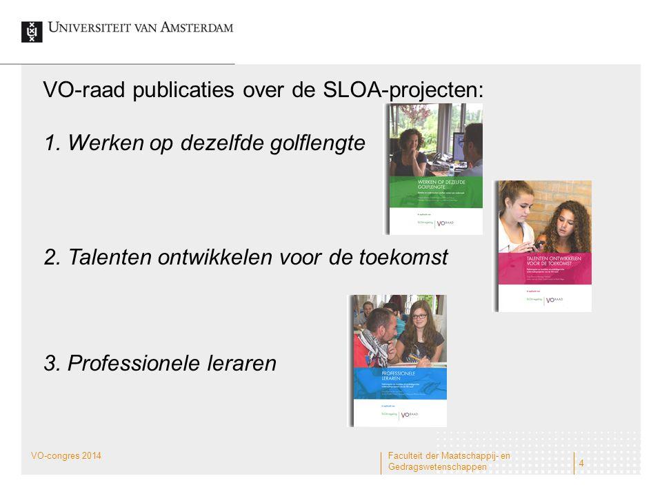 VO-raad publicaties over de SLOA-projecten: 1. Werken op dezelfde golflengte 2. Talenten ontwikkelen voor de toekomst 3. Professionele leraren 4 Facul