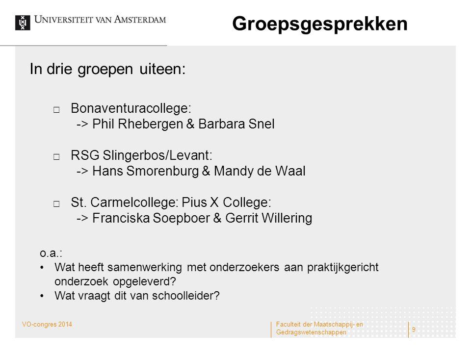 Groepsgesprekken In drie groepen uiteen:  Bonaventuracollege: -> Phil Rhebergen & Barbara Snel  RSG Slingerbos/Levant: -> Hans Smorenburg & Mandy de
