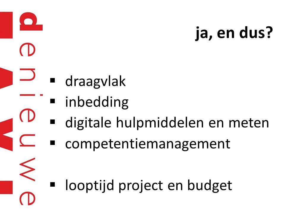 ja, en dus?  draagvlak  inbedding  digitale hulpmiddelen en meten  competentiemanagement  looptijd project en budget