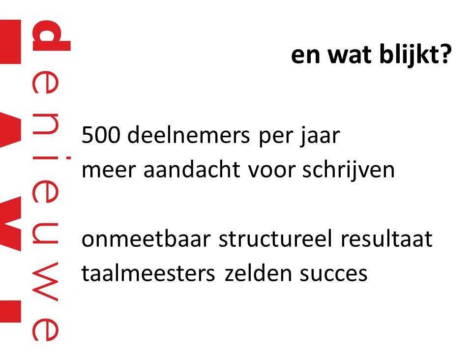 en wat blijkt? 500 deelnemers per jaar meer aandacht voor schrijven onmeetbaar structureel resultaat taalmeesters zelden succes