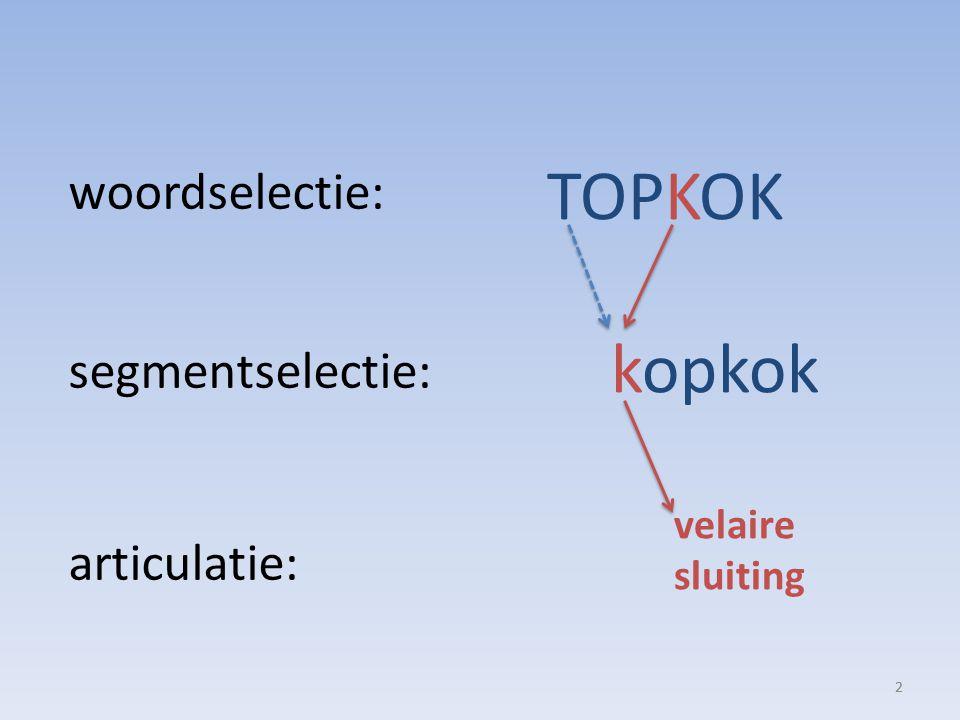 2 TOPKOK kopkok velaire sluiting woordselectie: segmentselectie: articulatie: 2