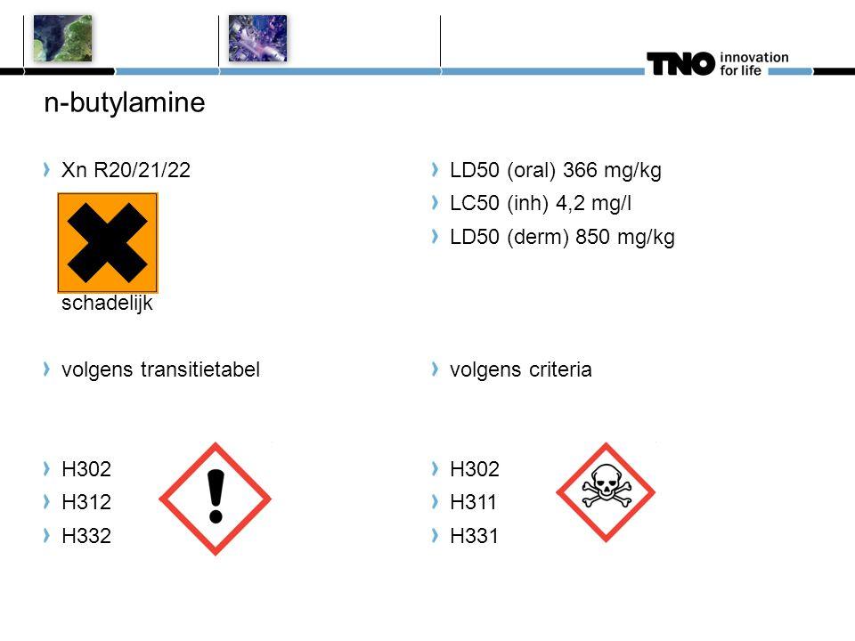 n-butylamine Xn R20/21/22 schadelijk volgens transitietabel H302 H312 H332 LD50 (oral) 366 mg/kg LC50 (inh) 4,2 mg/l LD50 (derm) 850 mg/kg volgens cri