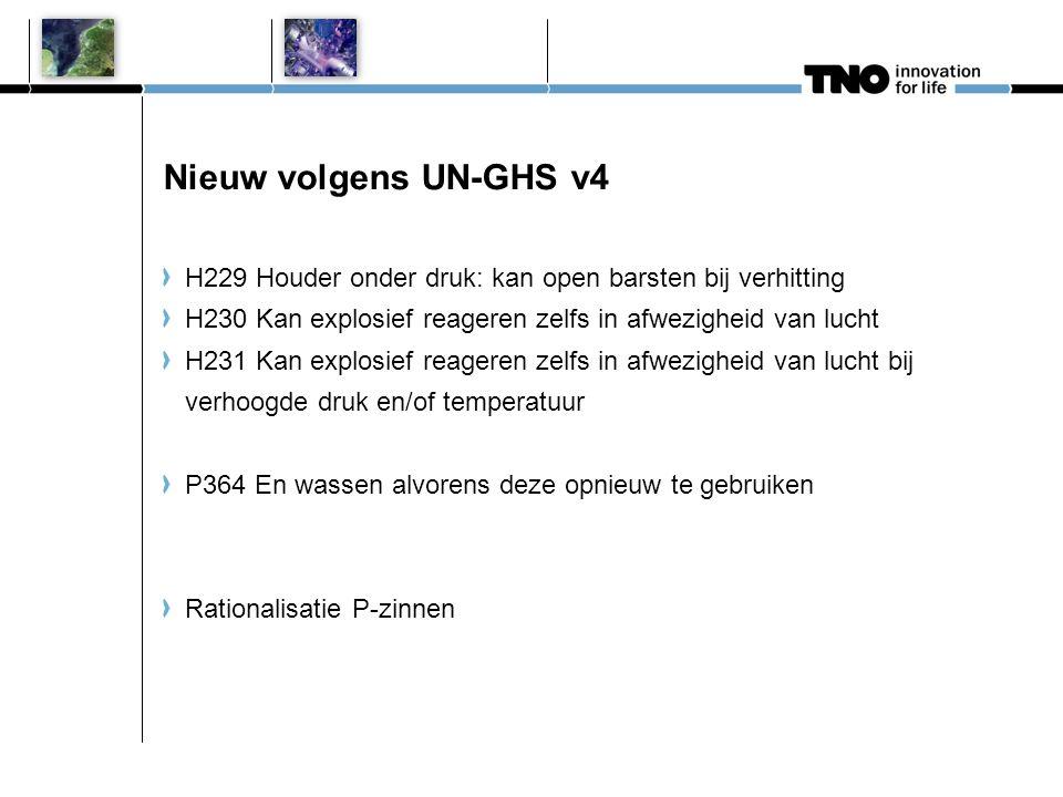 Nieuw volgens UN-GHS v4 H229 Houder onder druk: kan open barsten bij verhitting H230 Kan explosief reageren zelfs in afwezigheid van lucht H231 Kan ex