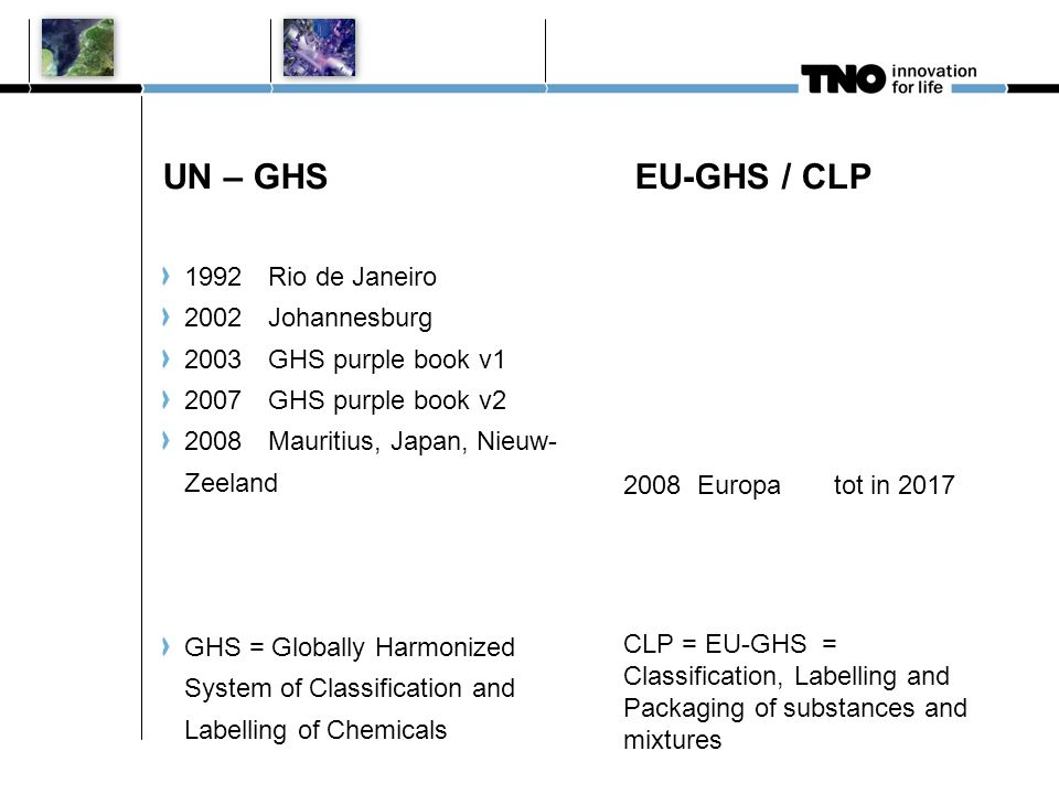 UN – GHS EU-GHS / CLP 1992Rio de Janeiro 2002Johannesburg 2003GHS purple book v1 2007GHS purple book v2 2008Mauritius, Japan, Nieuw- Zeeland GHS = Globally Harmonized System of Classification and Labelling of Chemicals 2008 Europa tot in 2017 CLP = EU-GHS = Classification, Labelling and Packaging of substances and mixtures