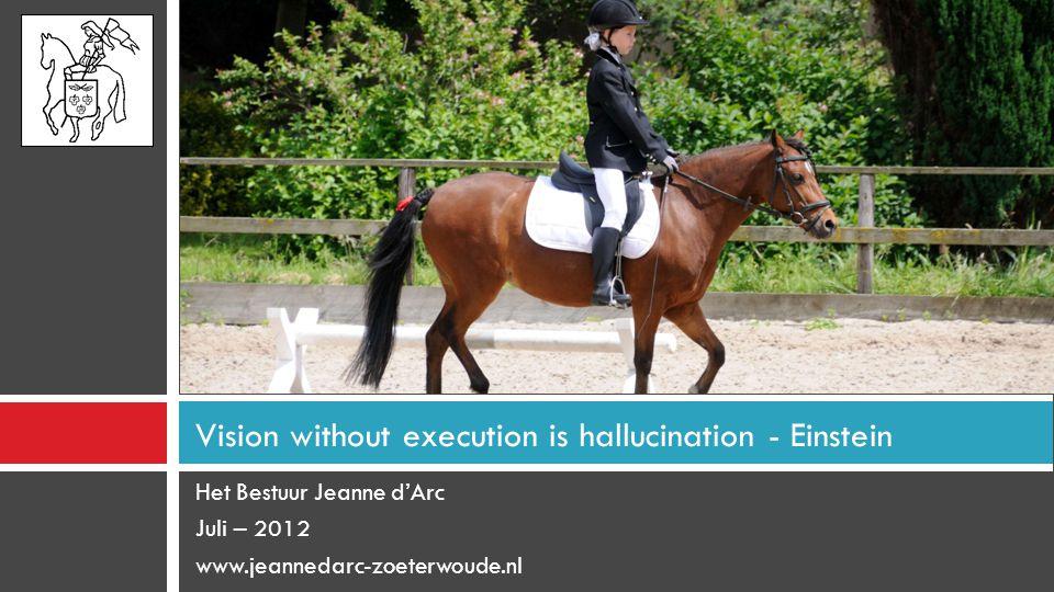 Het Bestuur Jeanne d'Arc Juli – 2012 www.jeannedarc-zoeterwoude.nl Vision without execution is hallucination - Einstein