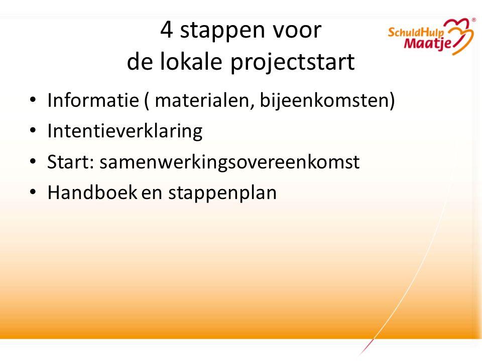 4 stappen voor de lokale projectstart • Informatie ( materialen, bijeenkomsten) • Intentieverklaring • Start: samenwerkingsovereenkomst • Handboek en stappenplan