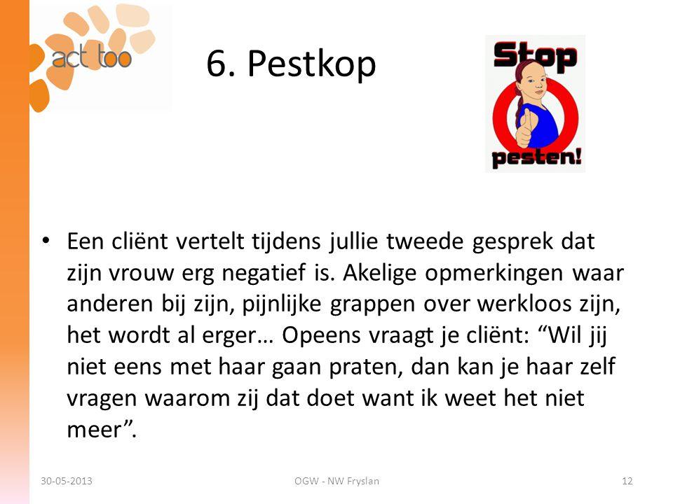 6. Pestkop 30-05-2013OGW - NW Fryslan12 • Een cliënt vertelt tijdens jullie tweede gesprek dat zijn vrouw erg negatief is. Akelige opmerkingen waar an
