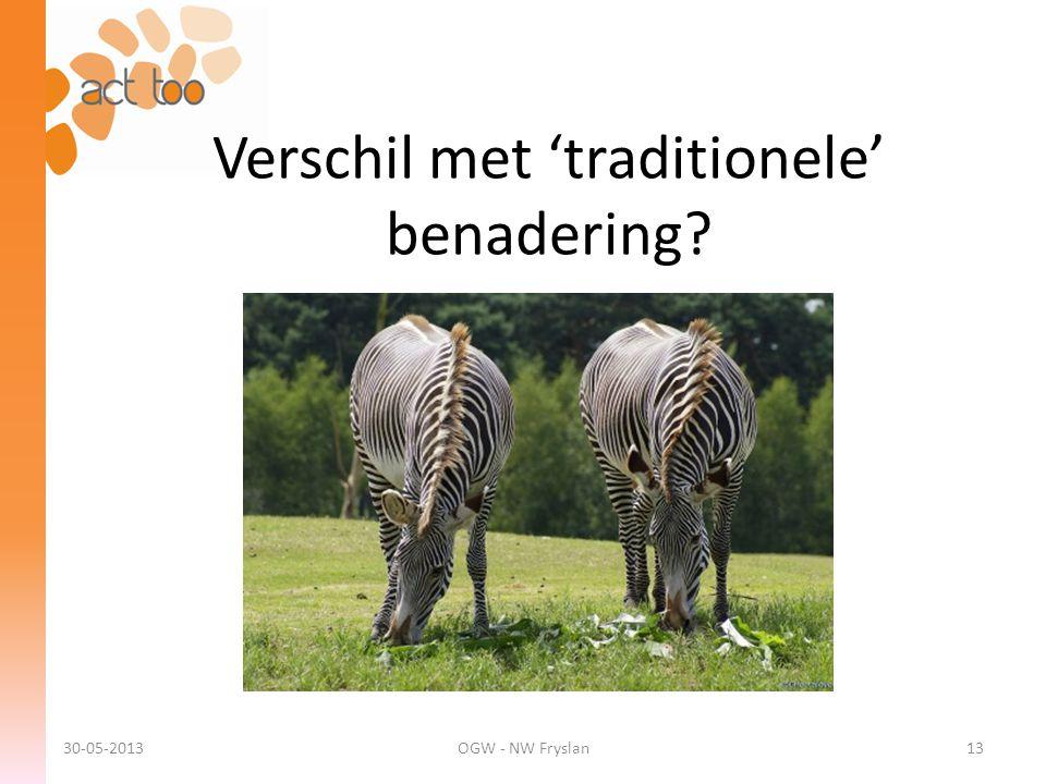Verschil met 'traditionele' benadering? 30-05-2013OGW - NW Fryslan13