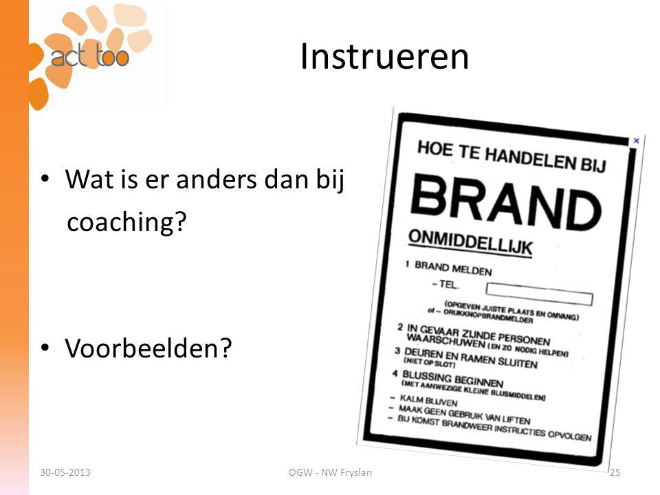 Instrueren • Wat is er anders dan bij coaching? • Voorbeelden? 30-05-2013OGW - NW Fryslan25