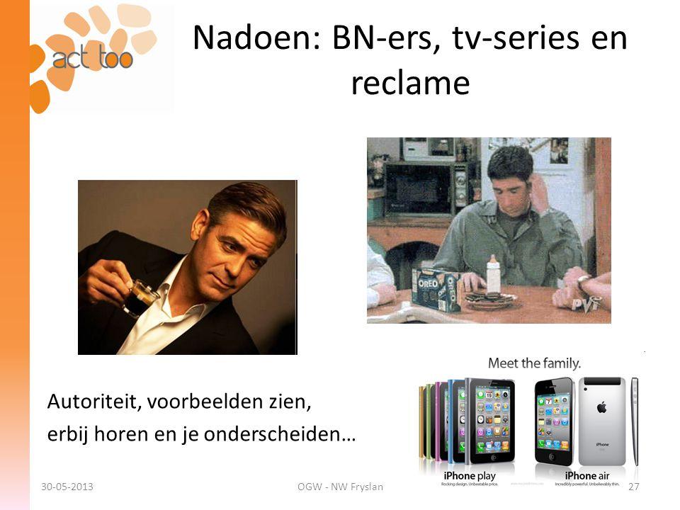 Autoriteit, voorbeelden zien, erbij horen en je onderscheiden… Nadoen: BN-ers, tv-series en reclame 30-05-2013OGW - NW Fryslan27