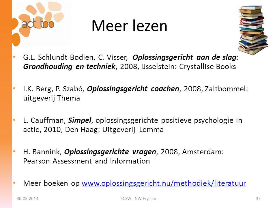 Meer lezen • G.L. Schlundt Bodien, C. Visser, Oplossingsgericht aan de slag: Grondhouding en techniek, 2008, IJsselstein: Crystallise Books • I.K. Ber