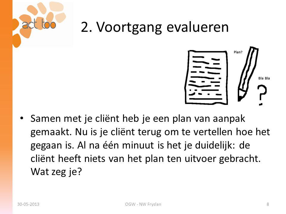 2. Voortgang evalueren 30-05-2013OGW - NW Fryslan8 • Samen met je cliënt heb je een plan van aanpak gemaakt. Nu is je cliënt terug om te vertellen hoe