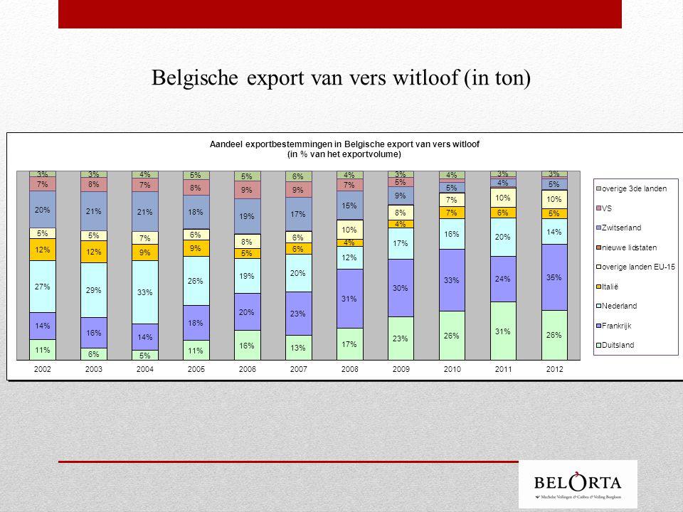 Belgische export van vers witloof (in ton)