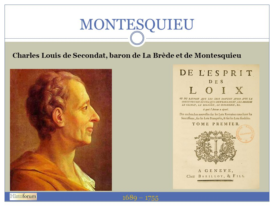 MONTESQUIEU 1689 – 1755 Charles Louis de Secondat, baron de La Brède et de Montesquieu