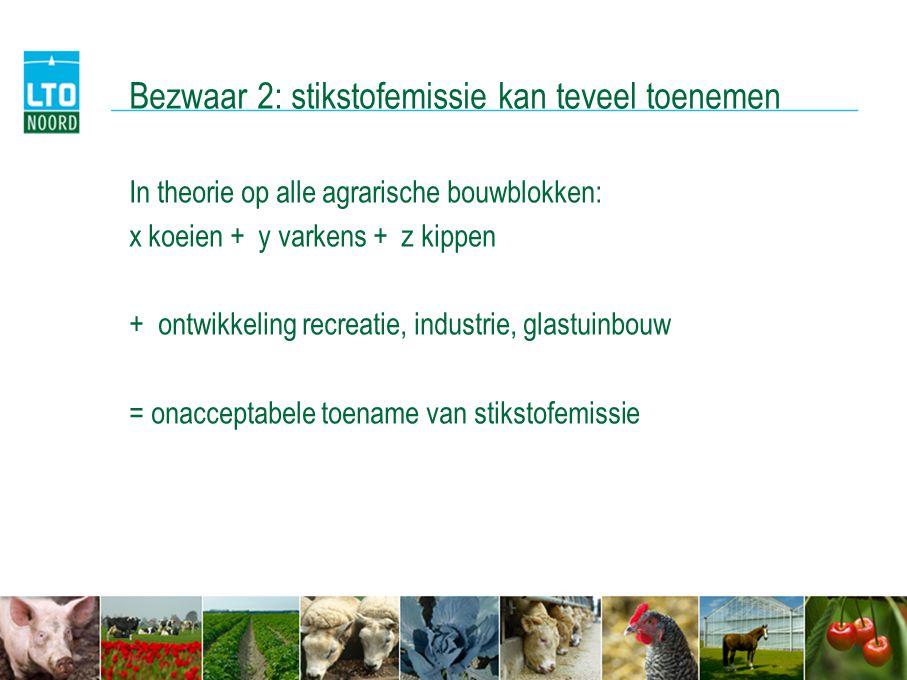 Bezwaar 2: stikstofemissie kan teveel toenemen In theorie op alle agrarische bouwblokken: x koeien + y varkens + z kippen + ontwikkeling recreatie, in