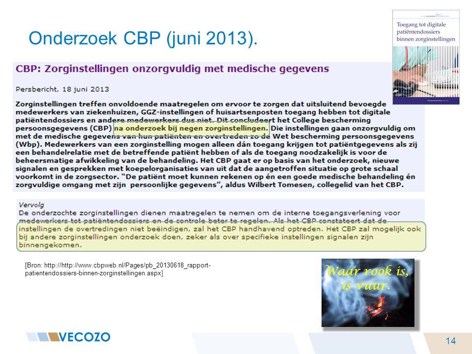 Onderzoek CBP (juni 2013). [Bron: http://http://www.cbpweb.nl/Pages/pb_20130618_rapport- patientendossiers-binnen-zorginstellingen.aspx] 14 Waar rook