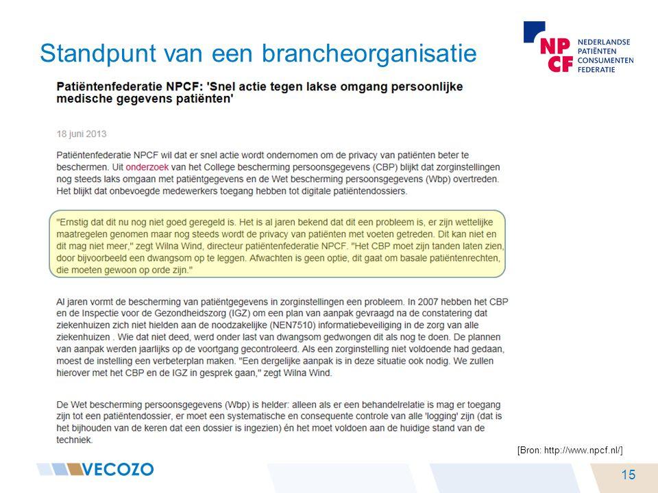 [Bron: http://www.npcf.nl/] Standpunt van een brancheorganisatie 15