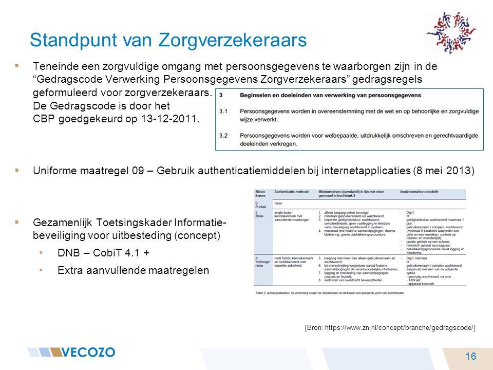 """Standpunt van Zorgverzekeraars  Teneinde een zorgvuldige omgang met persoonsgegevens te waarborgen zijn in de """"Gedragscode Verwerking Persoonsgegeven"""