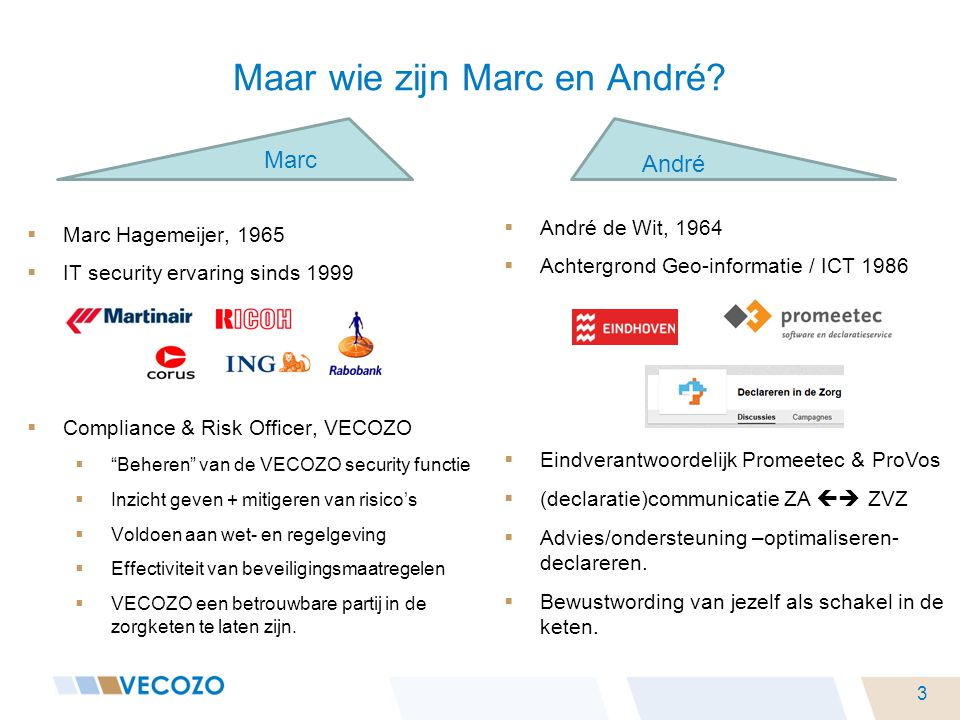 " Marc Hagemeijer, 1965  IT security ervaring sinds 1999  Compliance & Risk Officer, VECOZO  ""Beheren"" van de VECOZO security functie  Inzicht gev"