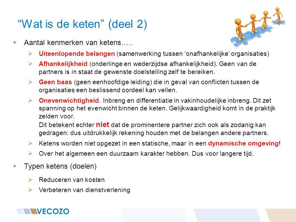 """""""Wat is de keten"""" (deel 2)  Aantal kenmerken van ketens…..  Uiteenlopende belangen (samenwerking tussen 'onafhankelijke' organisaties)  Afhankelijk"""