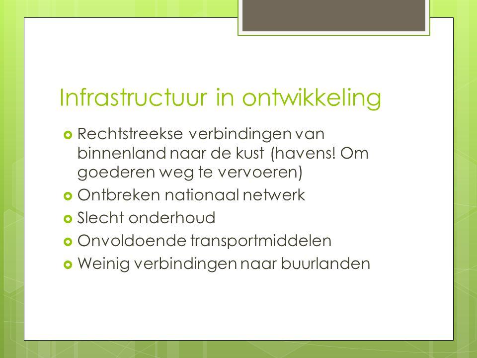 Infrastructuur in ontwikkeling  Rechtstreekse verbindingen van binnenland naar de kust (havens.