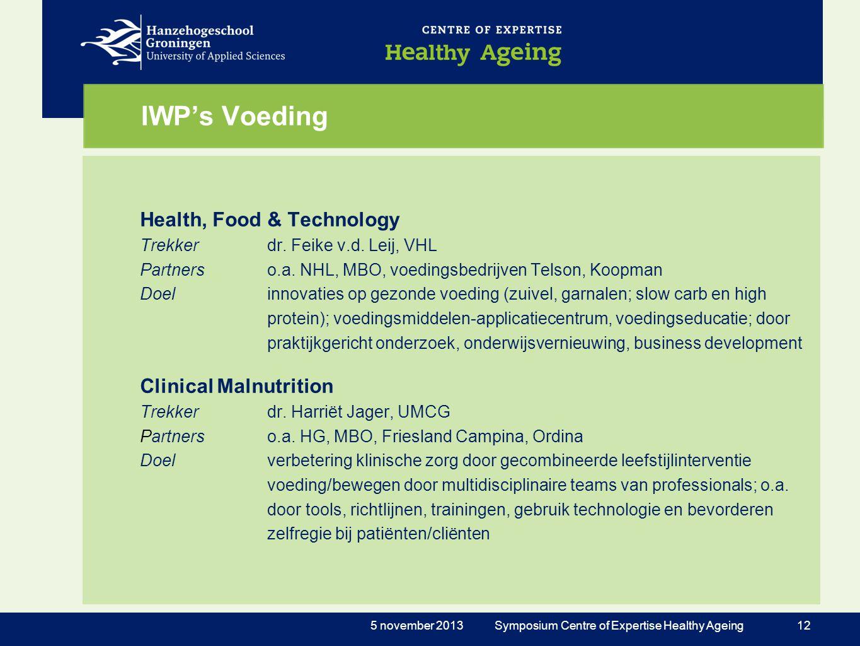 IWP's Voeding Health, Food & Technology Trekkerdr. Feike v.d. Leij, VHL Partnerso.a. NHL, MBO, voedingsbedrijven Telson, Koopman Doelinnovaties op gez