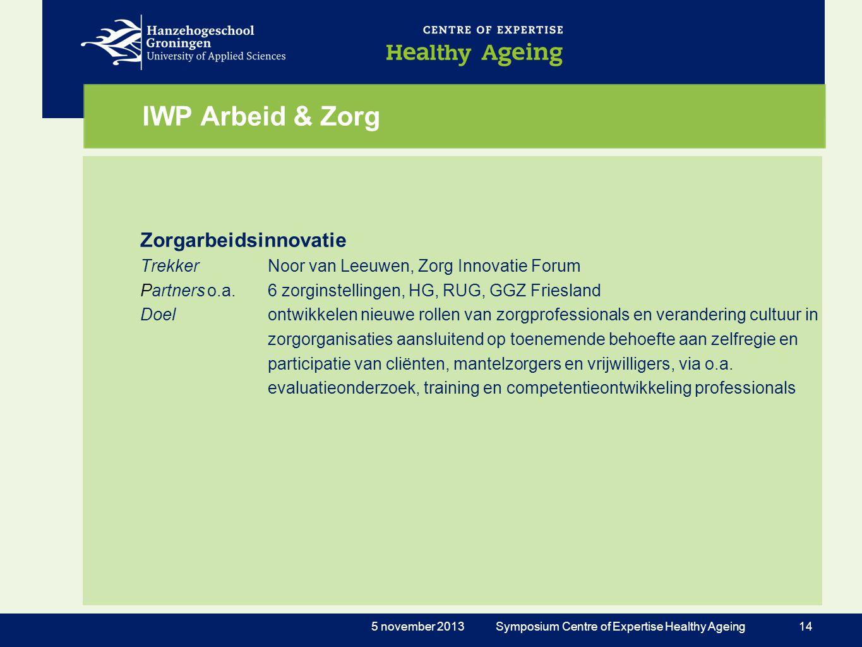 IWP Arbeid & Zorg Zorgarbeidsinnovatie TrekkerNoor van Leeuwen, Zorg Innovatie Forum Partnerso.a. 6 zorginstellingen, HG, RUG, GGZ Friesland Doelontwi