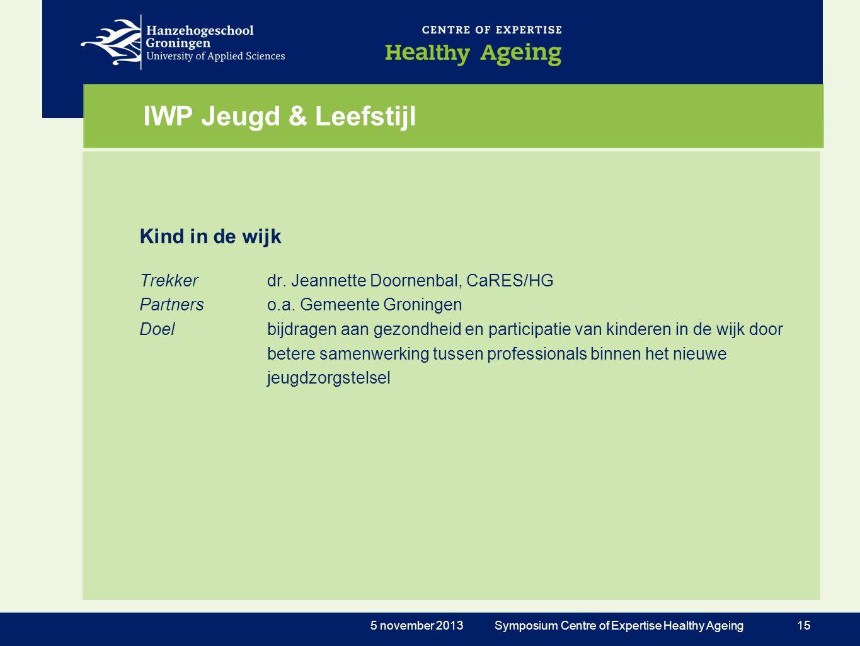 IWP Jeugd & Leefstijl Kind in de wijk Trekkerdr. Jeannette Doornenbal, CaRES/HG Partnerso.a. Gemeente Groningen Doelbijdragen aan gezondheid en partic
