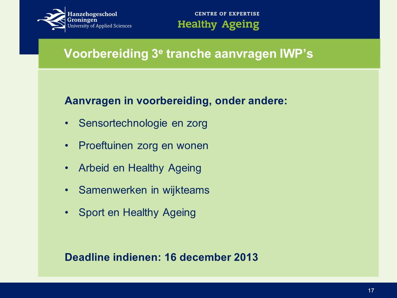 Voorbereiding 3 e tranche aanvragen IWP's Aanvragen in voorbereiding, onder andere: •Sensortechnologie en zorg •Proeftuinen zorg en wonen •Arbeid en H