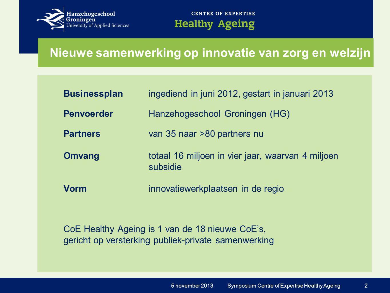 Partners CoE Healthy Ageing 4 noordelijke hogescholen (HG, NHL, VHL, Stenden) 5 noordelijke ROC's UMCG, RUG, TNO Zorg en Welzijn: meer dan 25 instellingen.
