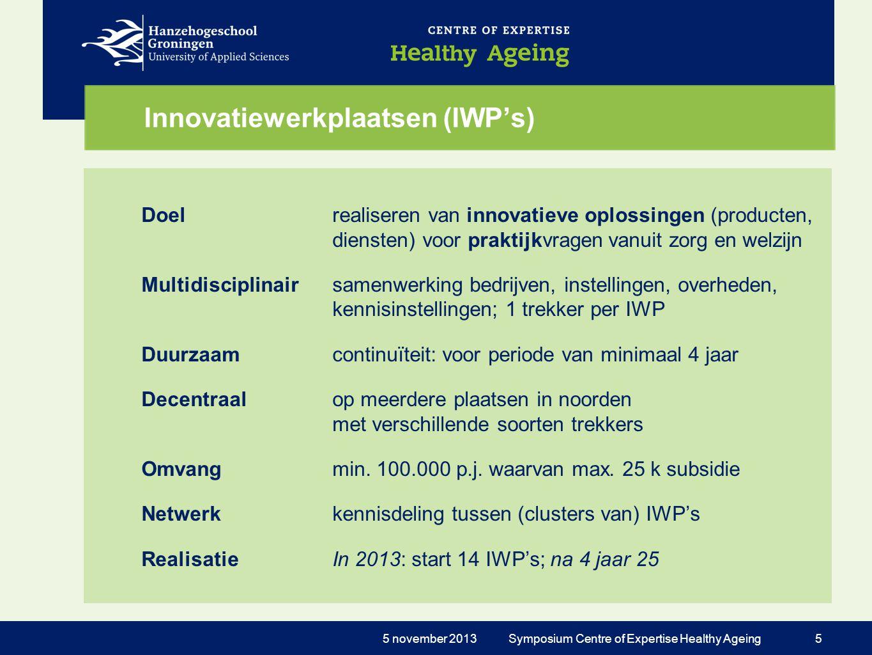 Innovatiewerkplaatsen (IWP's) Doelrealiseren van innovatieve oplossingen (producten, diensten) voor praktijkvragen vanuit zorg en welzijn Multidiscipl