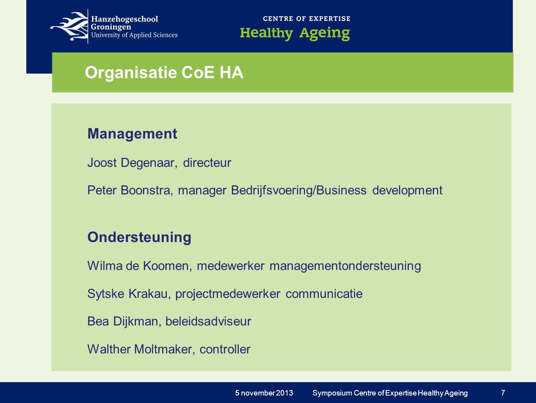 Organisatie CoE HA Management Joost Degenaar, directeur Peter Boonstra, manager Bedrijfsvoering/Business development Ondersteuning Wilma de Koomen, me