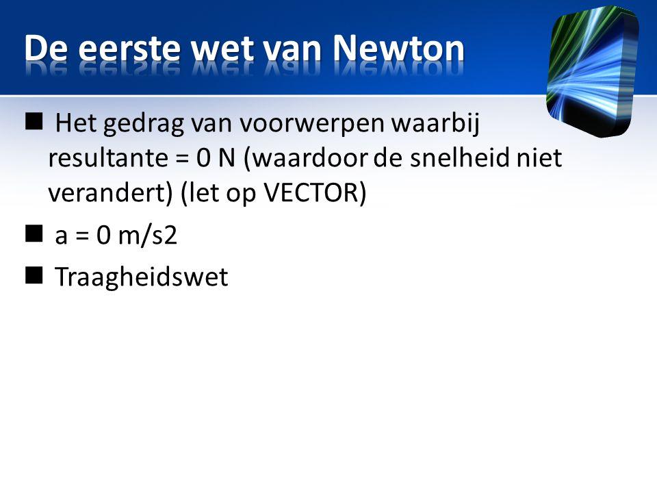  Het gedrag van voorwerpen waarbij resultante = 0 N (waardoor de snelheid niet verandert) (let op VECTOR)  a = 0 m/s2  Traagheidswet