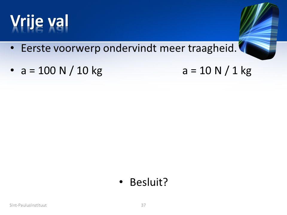 Sint-Paulusinstituut37 • Eerste voorwerp ondervindt meer traagheid. • a = 100 N / 10 kga = 10 N / 1 kg • Besluit?