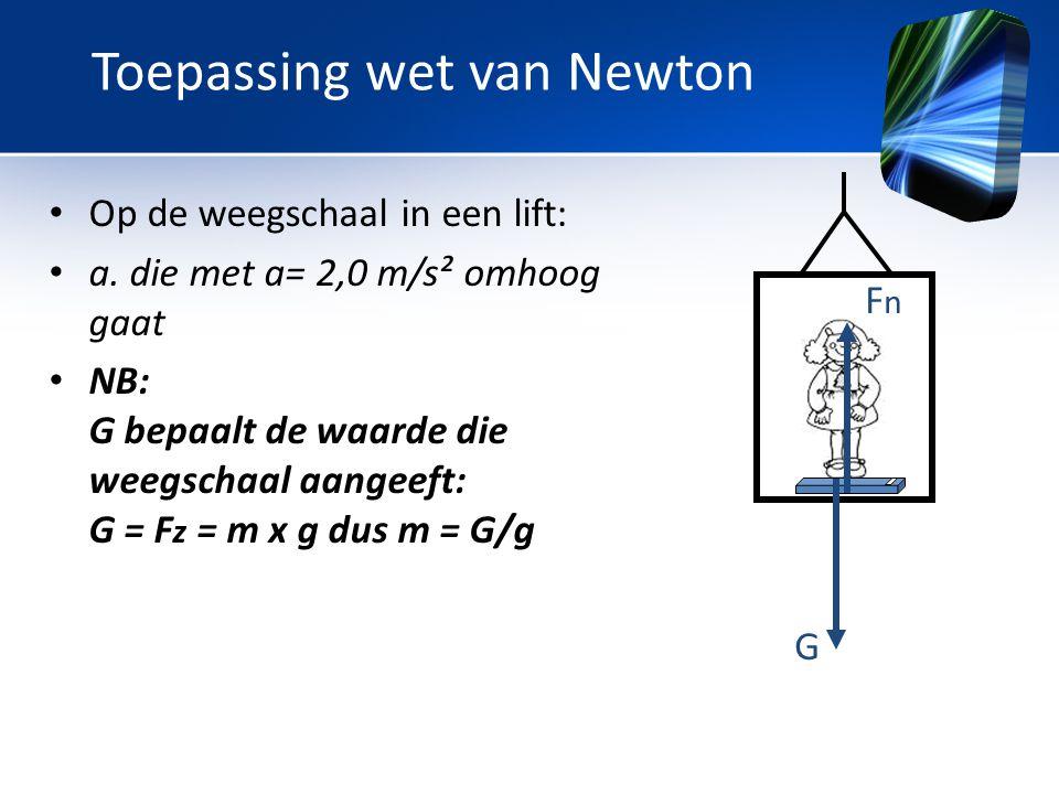 • Op de weegschaal in een lift: • a. die met a= 2,0 m/s² omhoog gaat • NB: G bepaalt de waarde die weegschaal aangeeft: G = F z = m x g dus m = G/g G