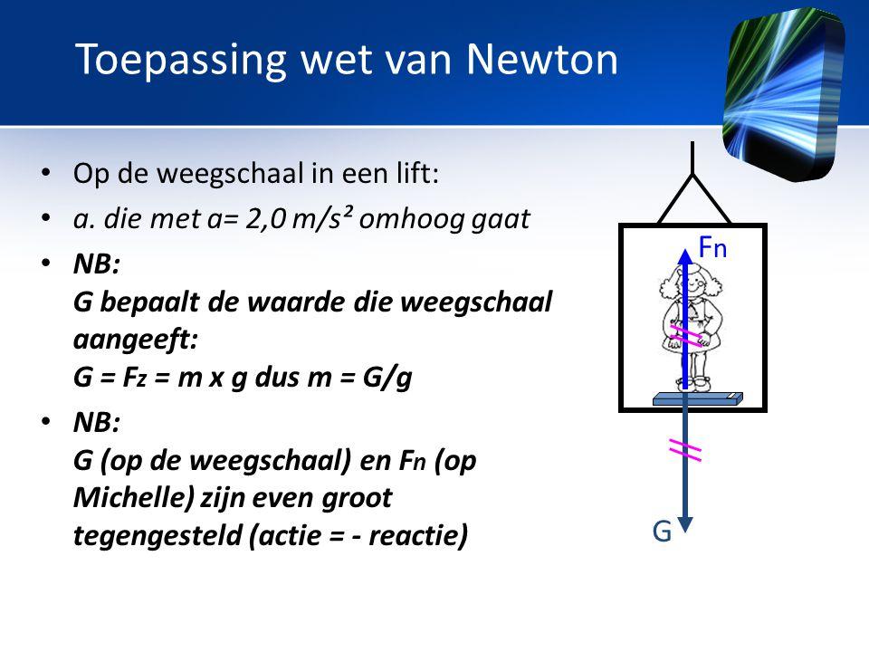 • Op de weegschaal in een lift: • a. die met a= 2,0 m/s² omhoog gaat • NB: G bepaalt de waarde die weegschaal aangeeft: G = F z = m x g dus m = G/g •