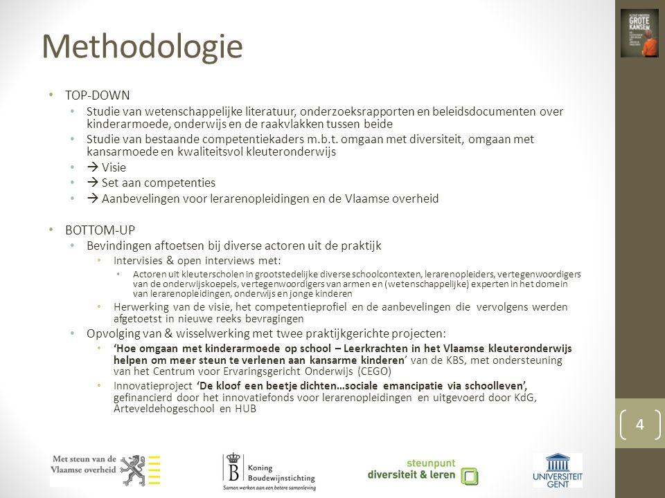 Methodologie • TOP-DOWN • Studie van wetenschappelijke literatuur, onderzoeksrapporten en beleidsdocumenten over kinderarmoede, onderwijs en de raakvlakken tussen beide • Studie van bestaande competentiekaders m.b.t.