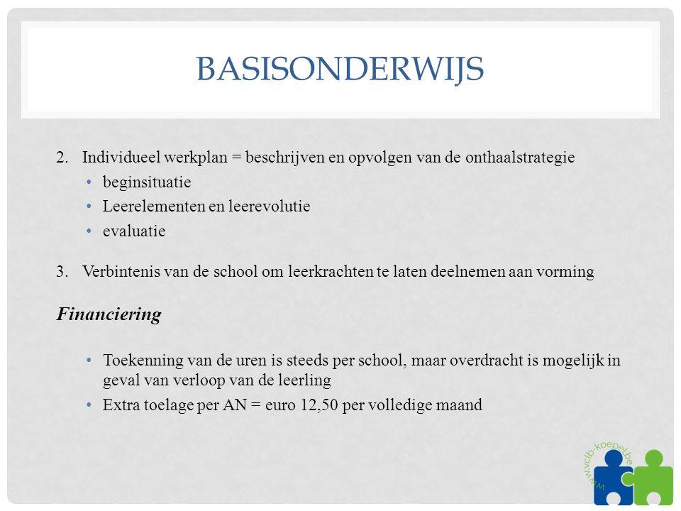 BASISONDERWIJS 2. Individueel werkplan = beschrijven en opvolgen van de onthaalstrategie •beginsituatie •Leerelementen en leerevolutie •evaluatie 3. V