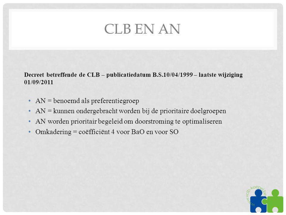 CLB EN AN Decreet betreffende de CLB – publicatiedatum B.S.10/04/1999 – laatste wijziging 01/09/2011 •AN = benoemd als preferentiegroep •AN = kunnen ondergebracht worden bij de prioritaire doelgroepen •AN worden prioritair begeleid om doorstroming te optimaliseren •Omkadering = coëfficiënt 4 voor BaO en voor SO