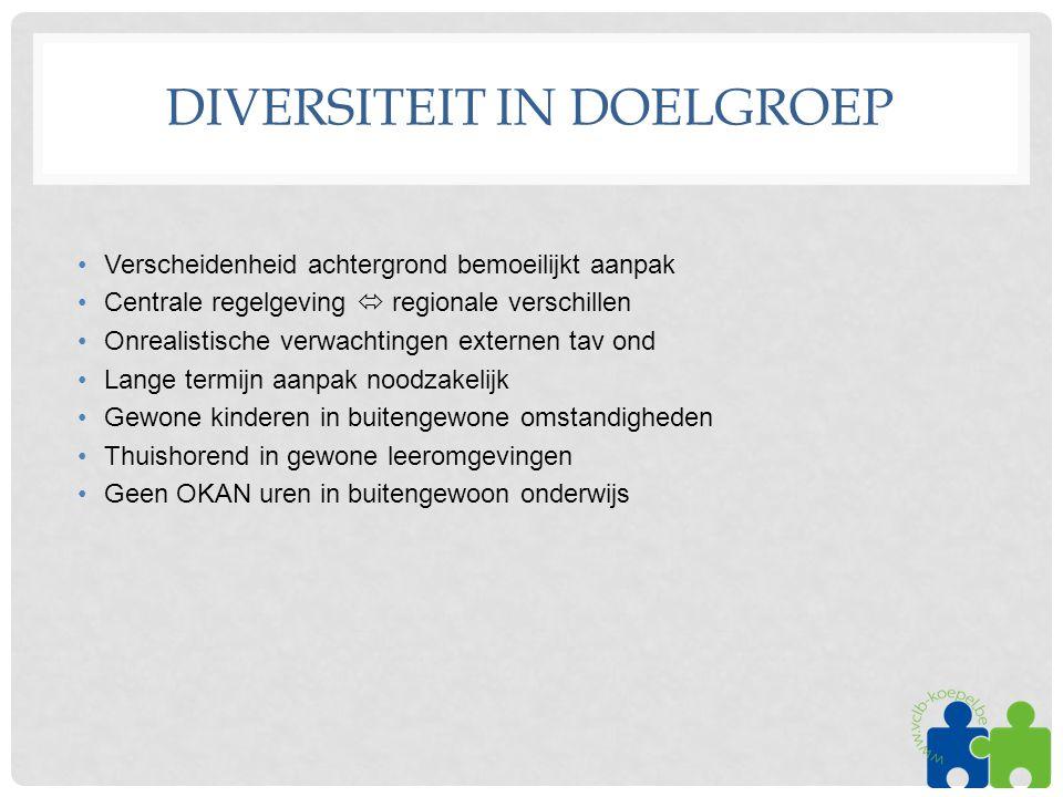 DIVERSITEIT IN DOELGROEP •Verscheidenheid achtergrond bemoeilijkt aanpak •Centrale regelgeving  regionale verschillen •Onrealistische verwachtingen e