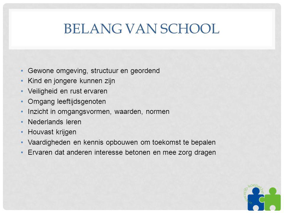 BELANG VAN SCHOOL •Gewone omgeving, structuur en geordend •Kind en jongere kunnen zijn •Veiligheid en rust ervaren •Omgang leeftijdsgenoten •Inzicht i
