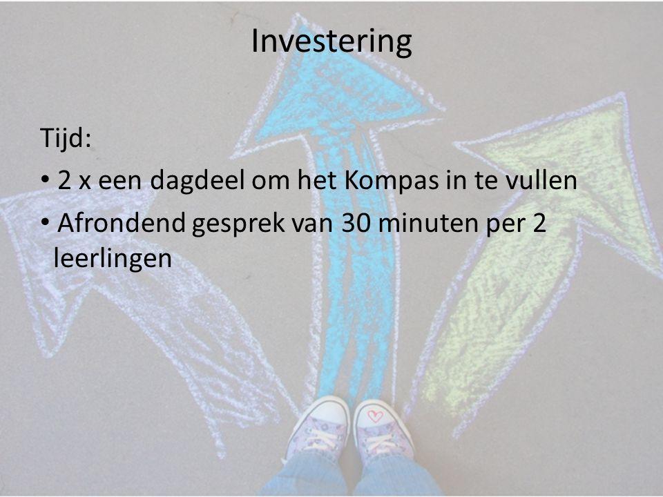 Investering Tijd: • 2 x een dagdeel om het Kompas in te vullen • Afrondend gesprek van 30 minuten per 2 leerlingen