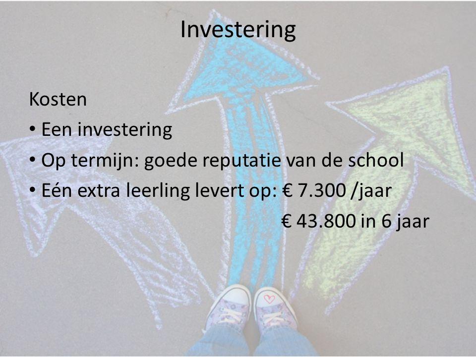 Investering Kosten • Een investering • Op termijn: goede reputatie van de school • Eén extra leerling levert op: € 7.300 /jaar € 43.800 in 6 jaar