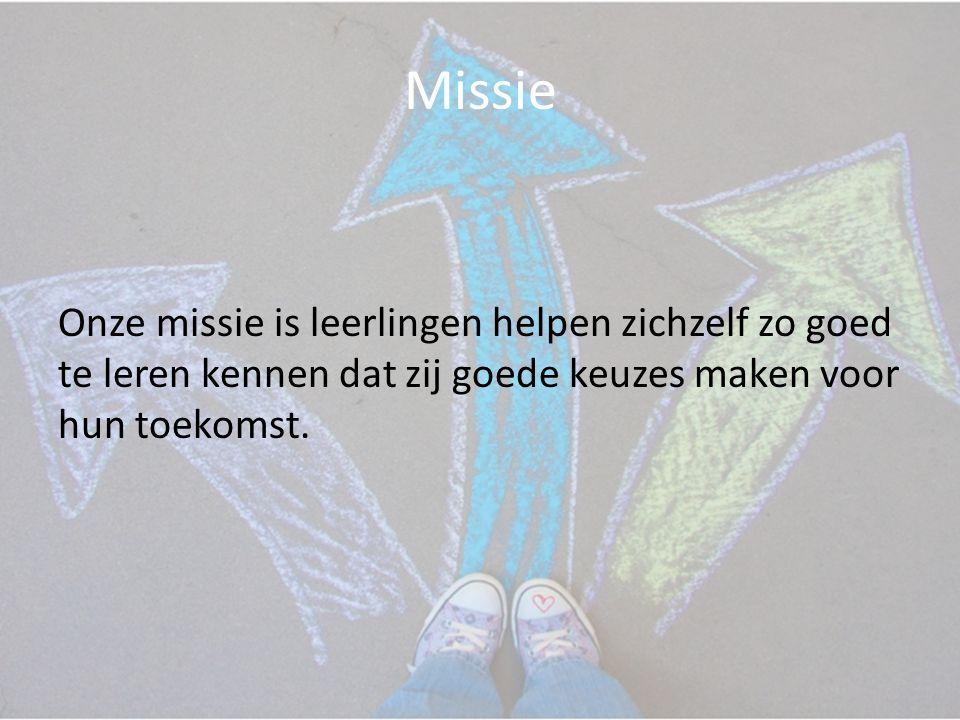 Missie Onze missie is leerlingen helpen zichzelf zo goed te leren kennen dat zij goede keuzes maken voor hun toekomst.