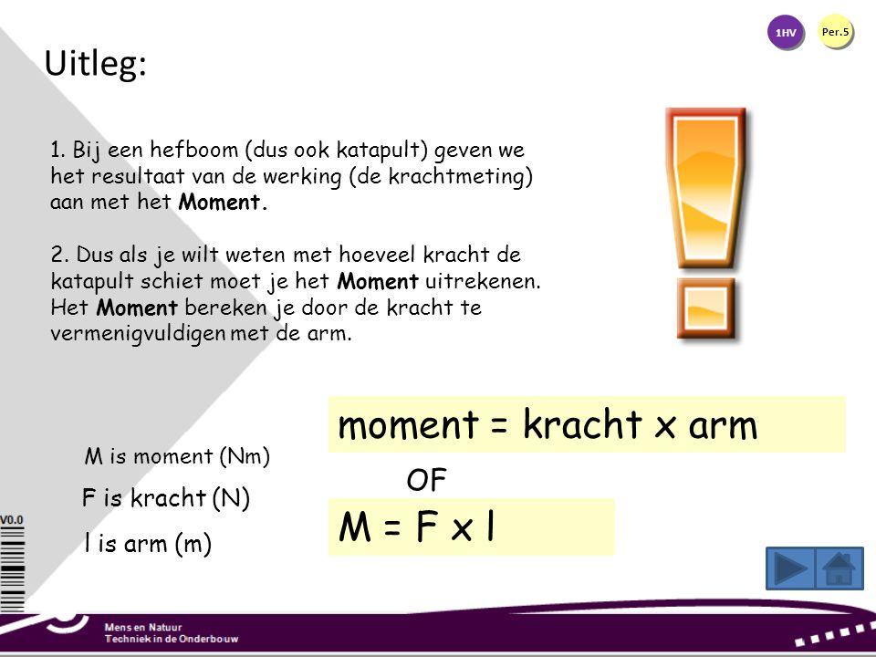 1HV Per.5 1. Bij een hefboom (dus ook katapult) geven we het resultaat van de werking (de krachtmeting) aan met het Moment. 2. Dus als je wilt weten m