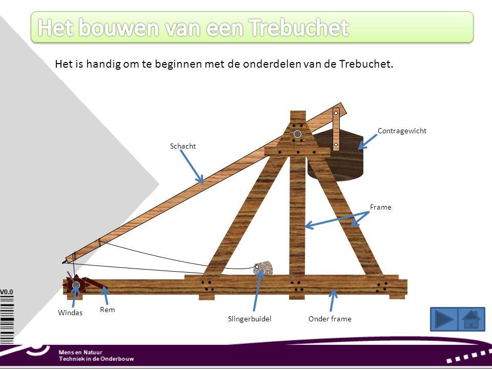 Het is handig om te beginnen met de onderdelen van de Trebuchet. Frame Schacht Windas Onder frame Rem Contragewicht Slingerbuidel