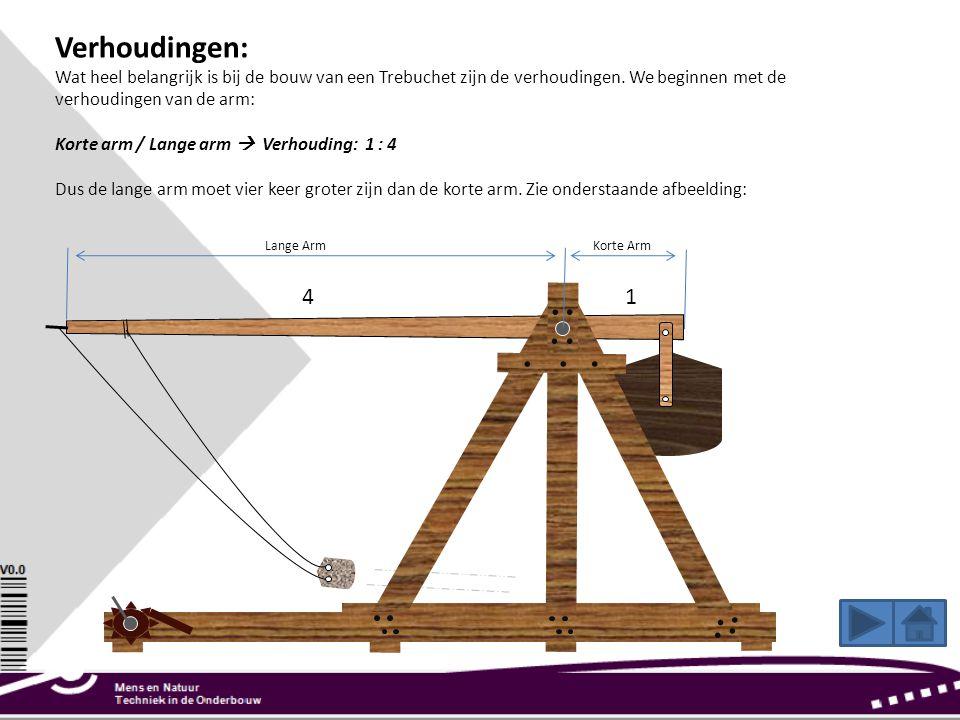 Verhoudingen: Wat heel belangrijk is bij de bouw van een Trebuchet zijn de verhoudingen. We beginnen met de verhoudingen van de arm: Korte arm / Lange