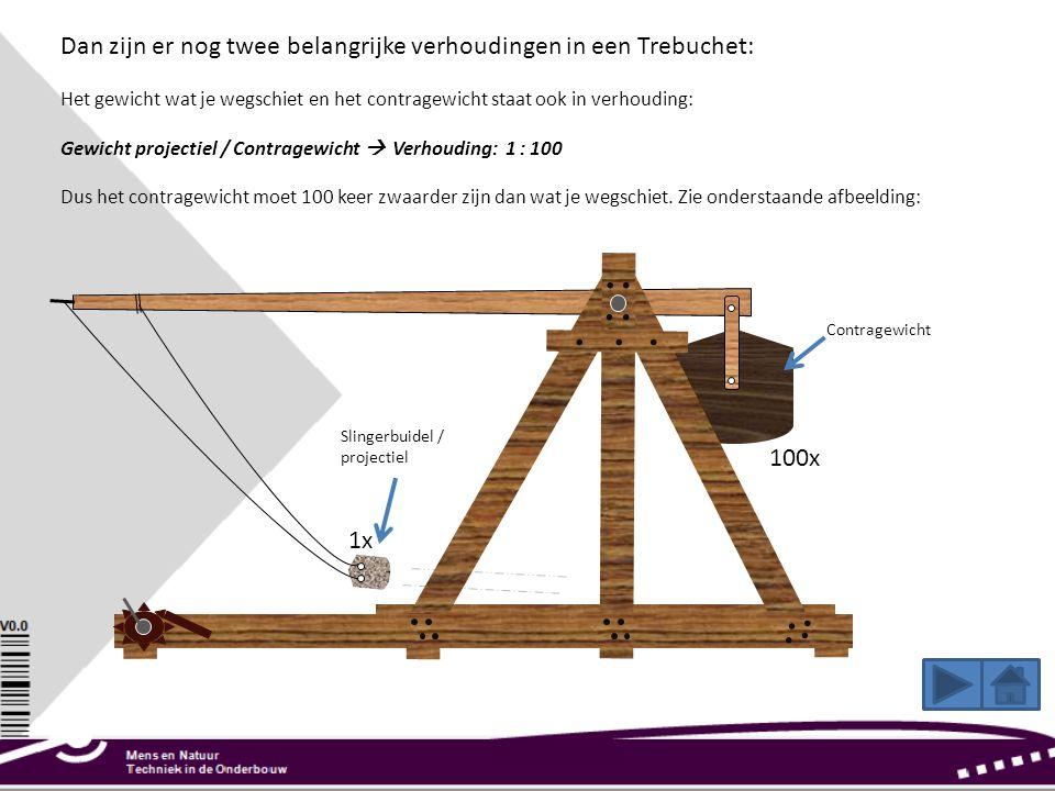Dan zijn er nog twee belangrijke verhoudingen in een Trebuchet: Het gewicht wat je wegschiet en het contragewicht staat ook in verhouding: Gewicht pro