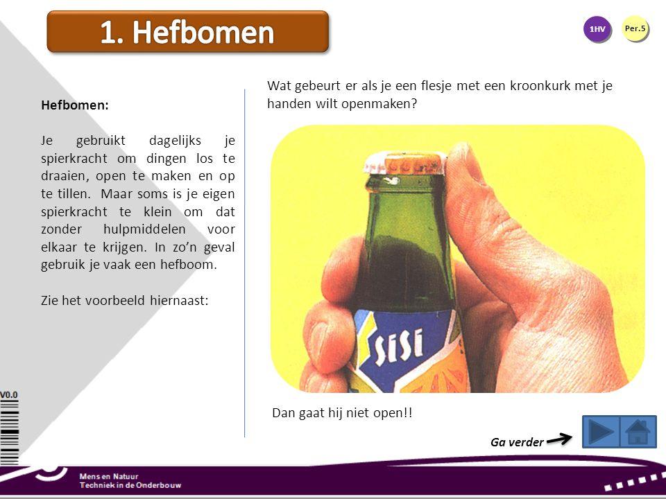 Wat gebeurt er als je een flesje met een kroonkurk met je handen wilt openmaken? Dan gaat hij niet open!! 1HV Per.5 Hefbomen: Je gebruikt dagelijks je
